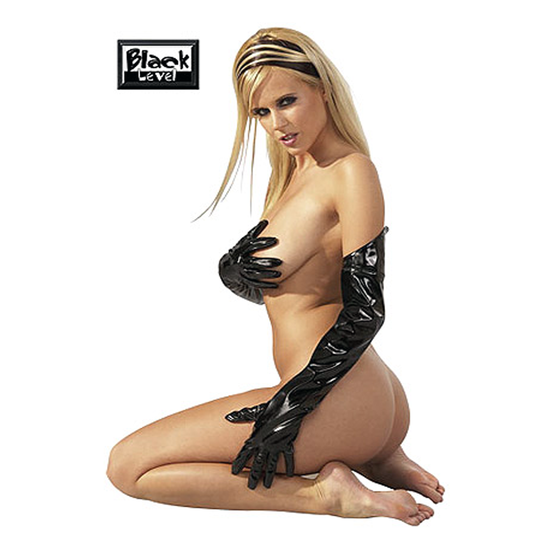 Černé extra douhé lakované rukavice, S