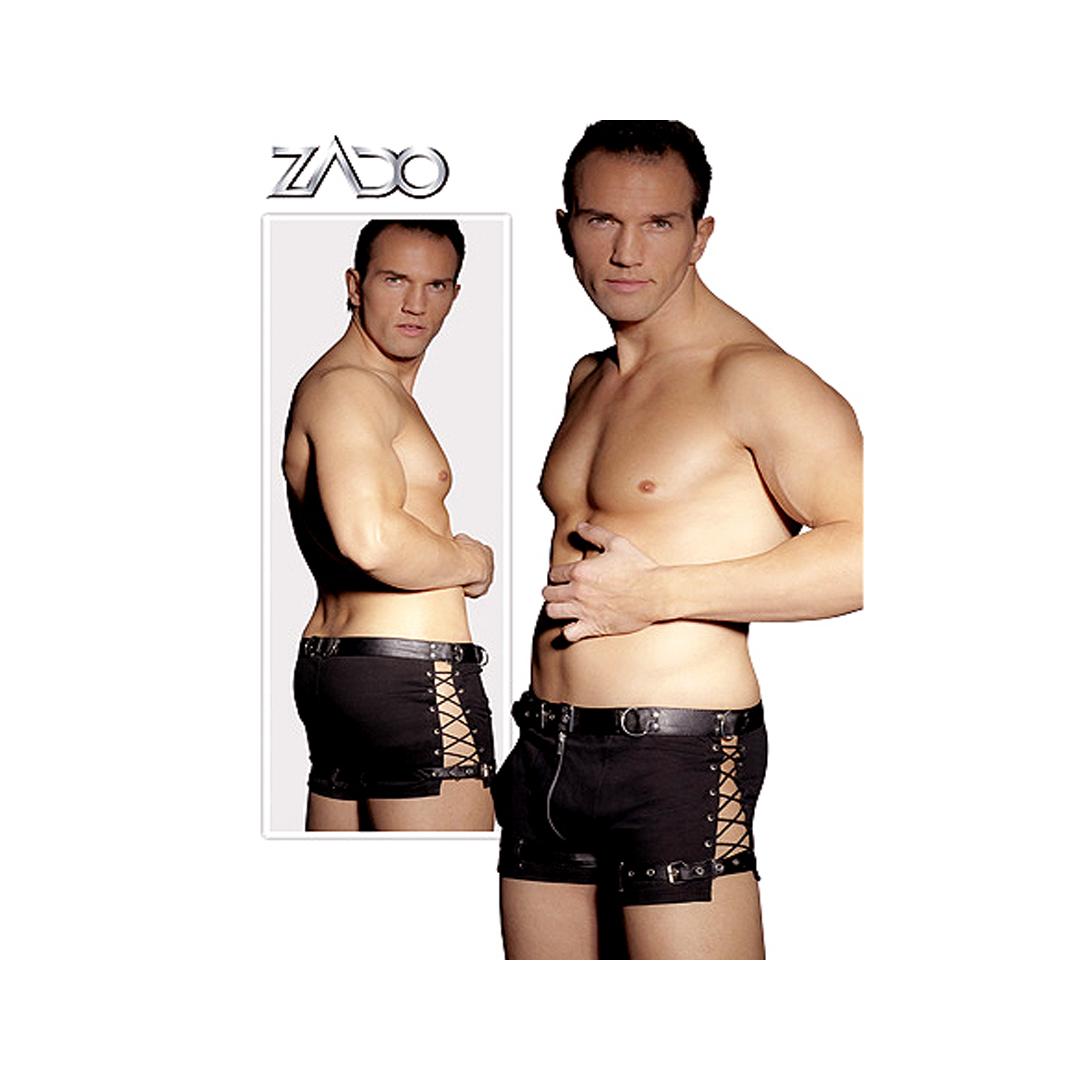 Pánské boxerky se zipem a koženým páskem, M