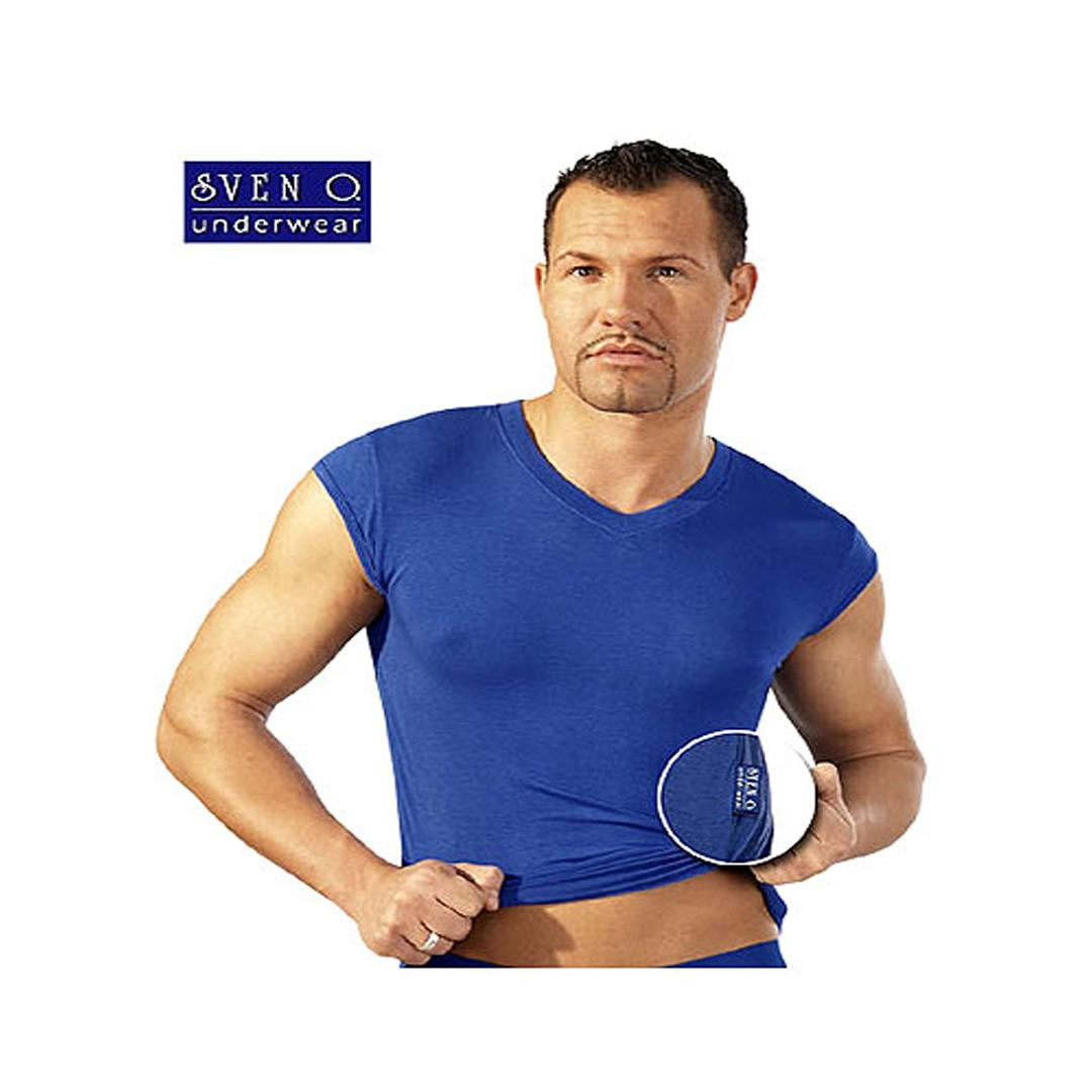 Pánské modré tričko bez rukávů, S