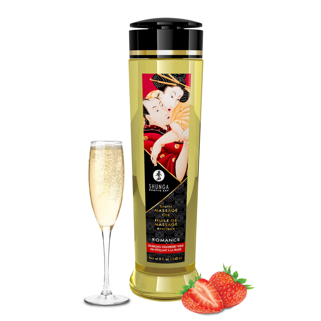 Shunga - Massage Oil Romance Strawberries & Champagne