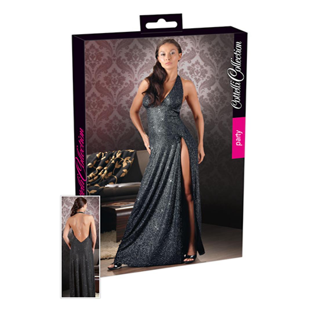 Dlouhé černé třpytivé šaty s rozparkem, XL
