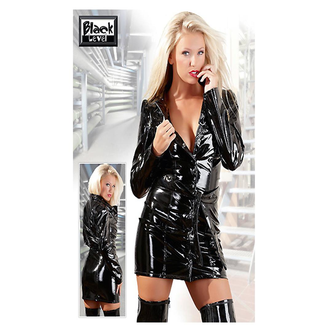 Lesklý svůdný černý kabátek s dlouhým rukávem Sindy, XL
