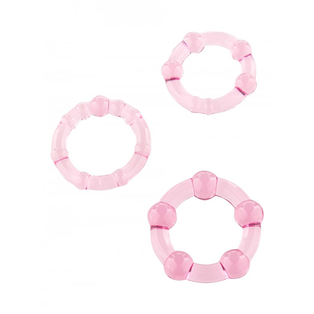 Sada 3 růžových erekčních kroužků - Stay Hard Three Rings